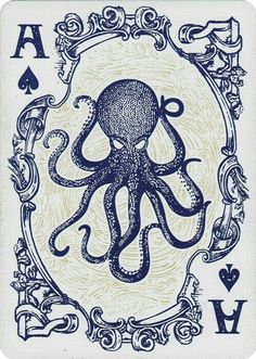 Nautical theme playing cards by Dan&Dave www.it This might be a tattoo idea for me. Octopus, a frame, and A's all in one Octopus Tattoos, Octopus Art, Animal Tattoos, Leg Tattoos, Squid Tattoo, Skull Animal, Oroboros Tattoo, Art Carte, Arte Sketchbook