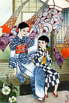 "蕗谷虹児 Fukiya Kouji / ""Bon-Dōrō"" for Shoujo Club magazine, July 1936"