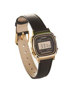 Casio Digital Watch Black Leather Strap