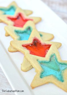 """4th Of July """"Stained Glass"""" Red, White & Blue Star Cookies 