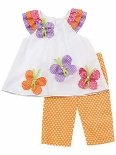 Rare Editions – Orange/ White Polka Dot Set With Butterfly Applique 6 monthsattempt to make with long sleep shirt - ribbons on bottom of sleeves around wristWhite knit top with multi colored polka dot ribbon cap sleeves and cute butterfly appliques Toddler Dress, Toddler Outfits, Baby Dress, Toddler Girl, Kids Outfits, Baby Girls, Sewing Kids Clothes, Baby Sewing, Doll Clothes