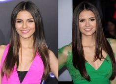 """10 Celebrities Who Look Exactly Alike - Suggest.com. Victoria Justice and Nina Dobrev. Nina Dobrev and Victoria Justice look so much alike that a magazine once erroneously ran a photo of Victoria in an article about Nina! We think that it's about time that the """"Vampire Diaries"""" star and the """"Victorious"""" diva played sisters in a movie. Or maybe even twins!"""