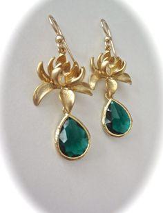 Gold lotus flower earrings  Emerald green  by QueenMeJewelryLLC