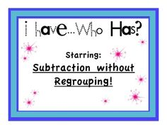 Game for subtraction without regrouping