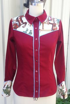 Western Ranch Fitted Blouse Retro Cowgirl by RAWdesignsEquestrian