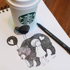 anamorphic drawing, girl with bear and balloons, by tokomo-shintani Balloon Illustration, Illustration Art, Starbucks Cup Art, 3d Sketch, Love Amor, Coffee Photography, 2d Art, Coffee Art, Magazine Art