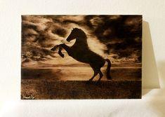 Handmade Pyrography painting of a horse silhouette (Painted by Heart Pyr) Silhouette Painting, Horse Silhouette, Pyrography, Pet Birds, Moose Art, Horses, Tattoos, Heart, Handmade