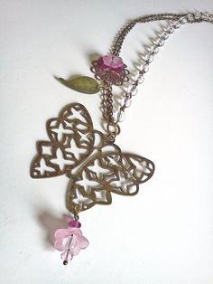 Antique brass Lucite flower and Swarovski by PinkCupcakeJC on Etsy, $25.00