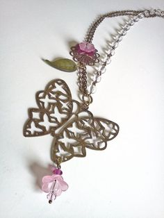 Antique brass Lucite flower and Swarovski by PinkCupcakeJC on Etsy, $25.00