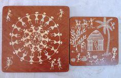 Items similar to Warli Painting,Warli Hand Painted Set of Tribal Art, Rural India, Wooden Trivet on Etsy Rural India, Paint Set, Tribal Art, Handmade Crafts, Hand Painted, Creative, Painting, Etsy, Vintage