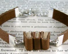 Miniature Book Bracelet The Stacks Stack of Three Miniature Books and Leather Bracelet Brown