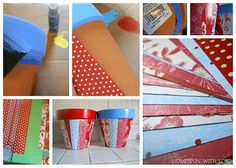 decoupage terracotta pots - what a great way to use up those scraps!