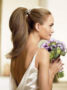 Updo Ponytail Wedding Hairstyles for Long Hair