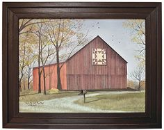 Amish Star Quilt Block Barn by Billy Jacobs Red Barn Country Landscape Primitive Folk Art Print Framed Picture Barn Quilt Designs, Barn Quilt Patterns, Wall Art Prints, Poster Prints, Art Posters, Canvas Prints, Framed Prints, Barn Signs, Primitive Folk Art