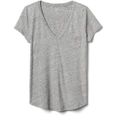 Gap Women Vintage Wash V Neck Tee found on Polyvore featuring tops, t-shirts, new heather grey, tall, tall v neck t shirts, v neck tops, curved hem tall tee, v neck t shirts and short sleeve tee