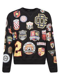 Black Men Street Fashion, Mens Fashion, Sweater Hoodie, Men Sweater, Pullover, Designer Jackets For Men, Printed Sweatshirts, Dsquared2, Black Cotton