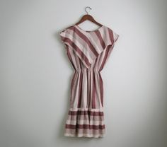 Vintage brown stripe Mexican dress