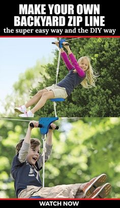 How to make a backyard zipline Backyard Zipline, Backyard Playset, Kids Playset Outdoor, Kids Playsets, Kid Backyard, Outdoor Forts, Kids Backyard Playground, Playground Ideas, Kids Zipline