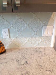 Byzantine Florid Arabesque Bianco Ceramic Wall Tile   Kitchen hoods ...