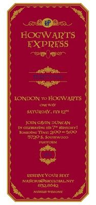 Hogwarts Express ticket, so cute for a party invite!