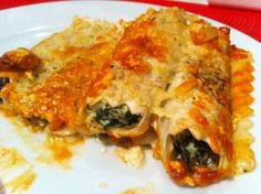 Canelones rellenos de espinacas y ricotta    Spinach & Ricotta Caneloni