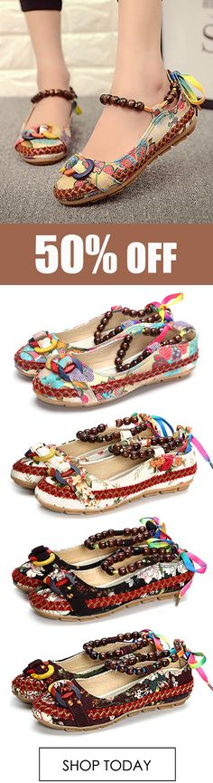 SOCOFY Size 5-11 Women Casual Flats Beading Round Toe Colorful Comfortable Flats Loafers Shoes. #fashion #shoes