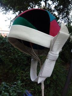 Vintage Yves Saint Laurent color block helmet hat, white leather, 1965