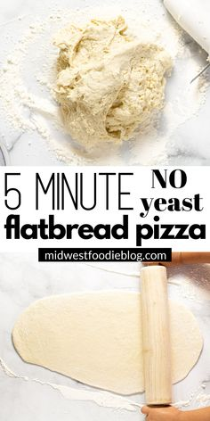 This flatbread pizza dough takes less than 5 minutes to make and comes together right in the food processor with only flour, salt, water and olive oil! Flatbread Recipes, Flatbread Pizza, Pizza Recipes, Cooking Recipes, Scd Recipes, Juicer Recipes, Fast Recipes, Recipies, Sauce Pizza