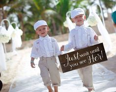 Just Wait Until You See Her!, wood wedding sign for one or two ring bearer(s) or flower girl(s) to carry down the aisle. This is a fun variation of our popular Here Comes the Bride sign. FEATURES: Siz