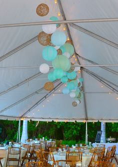 Pastel Balls are an inexpensive way to make your tent look fabulous!