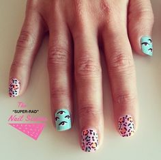 Muted Neon Leopard Nail Art