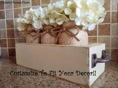 Large Mason Jar Centerpiece, Table Centerpiece, Table Decor, Kitchen Decor,  Rustic Home Decor, Painted Mason Jars, Centerpieces, Mason Jars | Mason Jar  ...