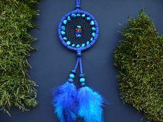 Small turquoise dream catcher car decor rear от DeiDreamCatchers