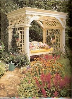 Oh, what a lovely addition to the backyard gardens.  The perfect spot for a nap or reading a good book.  Drool... #covered_garden_bench