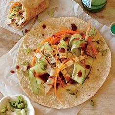 Peking Turkey Wraps | MyRecipes.com #myplate #protein #veggies #fruit #wholegrain