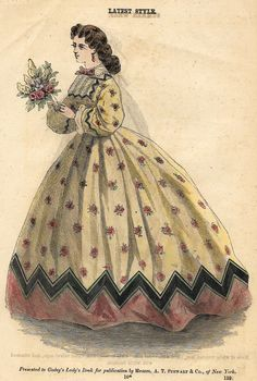 """Godey's Fashion Plate - c1860 - """"""""ROSES DRESS - LATEST STYLE"""""""" - H-C Lithograph"""