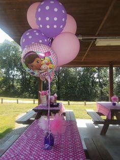 Centerpiece idea for a Doc McStuffins Birthday Party