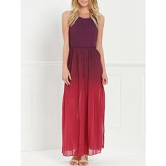 Halter Sleeveless Ombre Color High Slit Maxi Dress (150 HRK) ❤ liked on Polyvore featuring dresses, sleeveless dress, halter neck maxi dress, ombre dresses, halter-neck tops and halter-neck maxi dresses