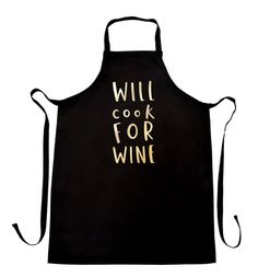 Cook For Wine Apron - kitchen apron - wine apron - kitchen gift - cooking apron - fun apron kitchen gift - screen printed metallic gold