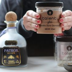 Mixing Patron XO Cafe and gelato to create the best milkshake #recipe #nomnom