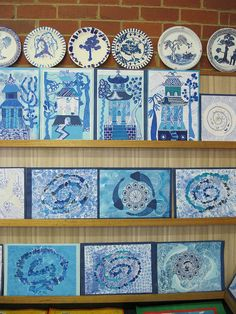 school art show 2012 by thornberry, via Flickr. Willow Pattern art work inspired by 18th Century English Chinaware design.
