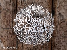 Papercut Template 'Bloom Grow Blossom' Spring Easter Themed Printable PDF Template Cut Your Own Papercut by Samantha's Papercuts