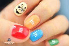 M and M's Candy Nail Art - nailartgallery. Super Cute Nails, Pretty Nails, Nice Nails, Food Nail Art, Jolie Nail Art, Nailart, Nails For Kids, Hot Nails, Nail Art Hacks