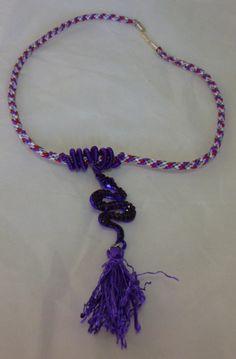 Kumihimo necklace purple snake tassel