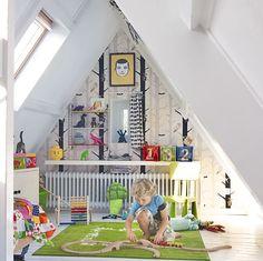 Kid's Room Attic/Loft Space so cute. consider fun ideas for attic craft space too. -jl