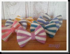 Crochet Bows, Crochet Motif, Crochet Patterns, Crochet Hair Accessories, Crochet Hair Styles, Japanese Nail Art, Crochet Keychain, Bracelet Crafts, Dog Bowtie