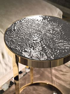"""""""AMADEUS"""" Side Table -  Bright gold finish steel base - Ceramic Top"""