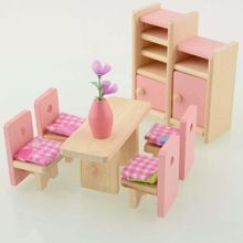 Holz Esszimmer Puppenhaus Möbel Raum Puppenhaus Miniatur Für Kinder  Spielzeug(China (Mainland)) 3d7e64a704