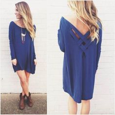 Long Sleeve loose hollow out solid back cross mini Dress