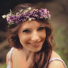 Purple hair Wreath, bridal Flower crown, bridal headpiece, spring hair wreath, bridal hair flower, bridal headband by Jewelrylimanska on Etsy https://www.etsy.com/listing/224172820/purple-hair-wreath-bridal-flower-crown
